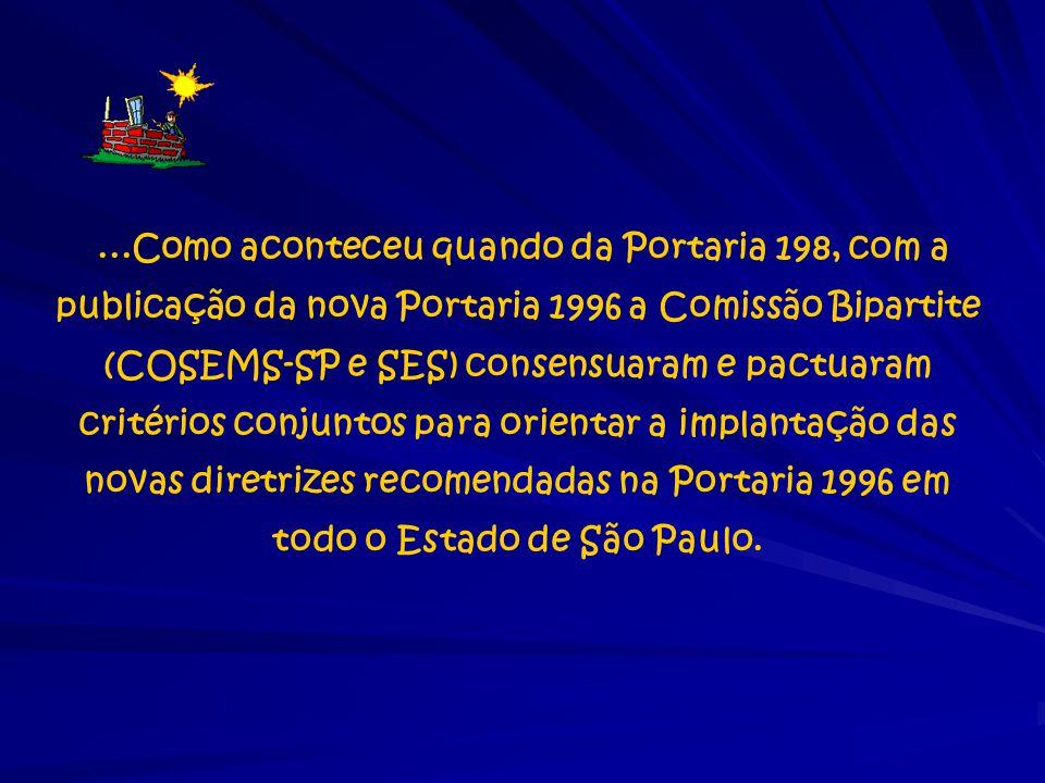 ...Como aconteceu quando da Portaria 198, com a publicação da nova Portaria 1996 a Comissão Bipartite (COSEMS-SP e SES) consensuaram e pactuaram crité