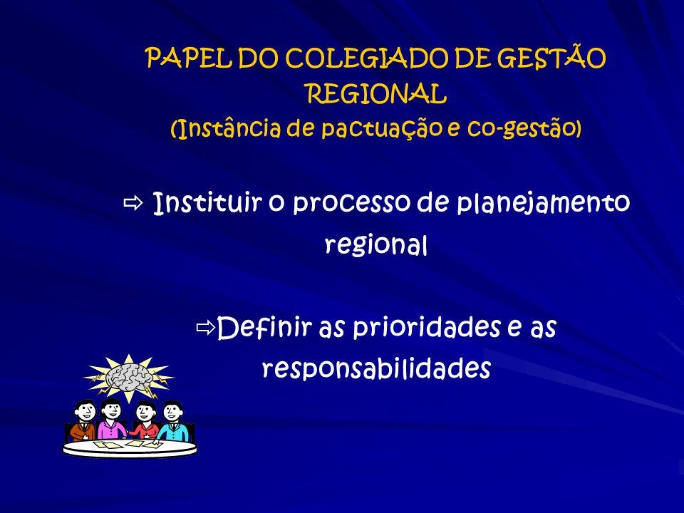 PAPEL DO COLEGIADO DE GESTÃO REGIONAL (Instância de pactuação e co-gestão)  Instituir o processo de planejamento regional  Definir as prioridades e