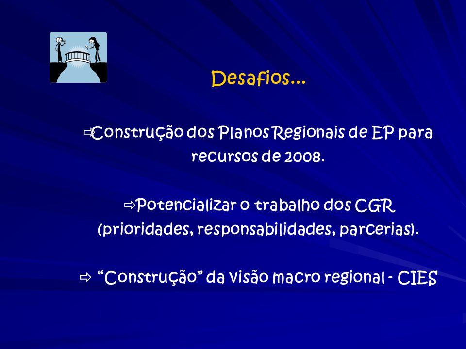 Desafios...  Construção dos Planos Regionais de EP para recursos de 2008.  Potencializar o trabalho dos CGR (prioridades, responsabilidades, parceri