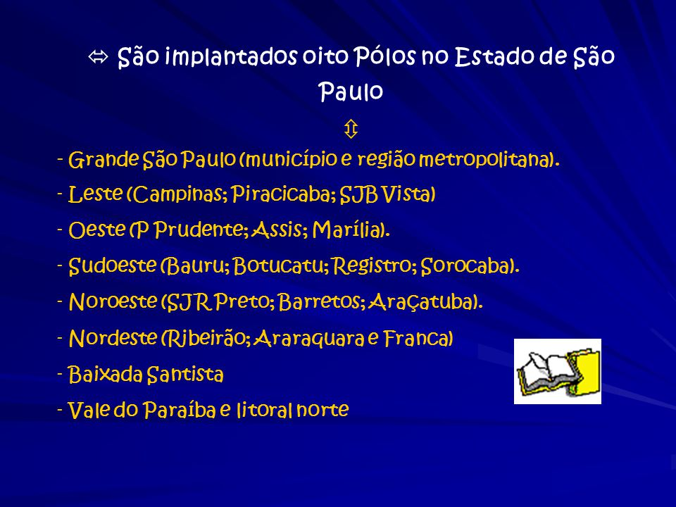  São implantados oito Pólos no Estado de São Paulo  - Grande São Paulo (município e região metropolitana). - Leste (Campinas; Piracicaba; SJB Vista)