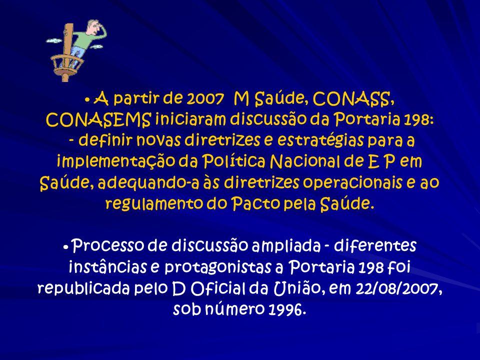 A partir de 2007 M Saúde, CONASS, CONASEMS iniciaram discussão da Portaria 198: - definir novas diretrizes e estratégias para a implementação da Polít