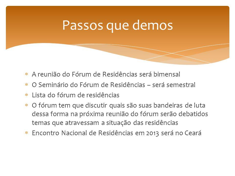  A reunião do Fórum de Residências será bimensal  O Seminário do Fórum de Residências – será semestral  Lista do fórum de residências  O fórum tem