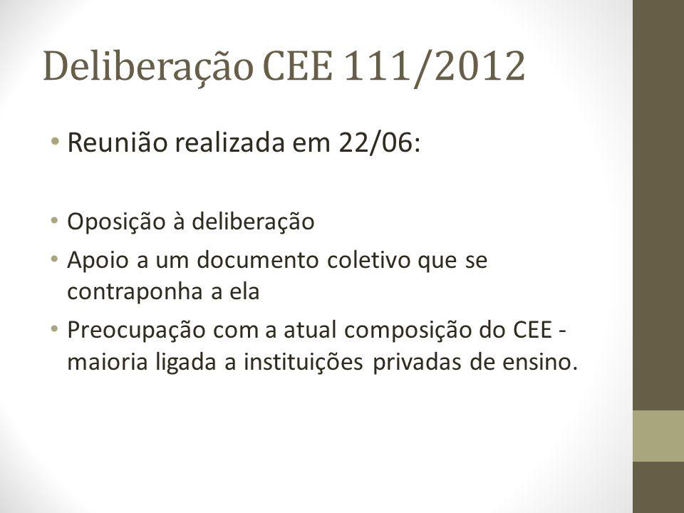 Deliberação CEE 111/2012 Reunião realizada em 22/06: Oposição à deliberação Apoio a um documento coletivo que se contraponha a ela Preocupação com a atual composição do CEE - maioria ligada a instituições privadas de ensino.