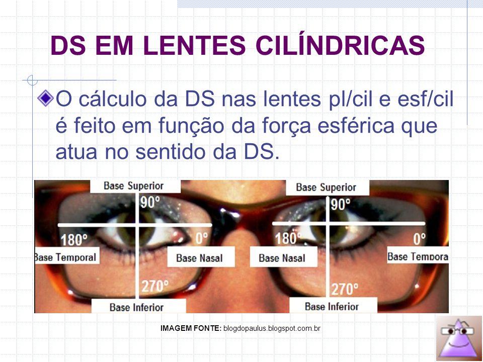 DS EM LENTES CILÍNDRICAS O cálculo da DS nas lentes pl/cil e esf/cil é feito em função da força esférica que atua no sentido da DS.