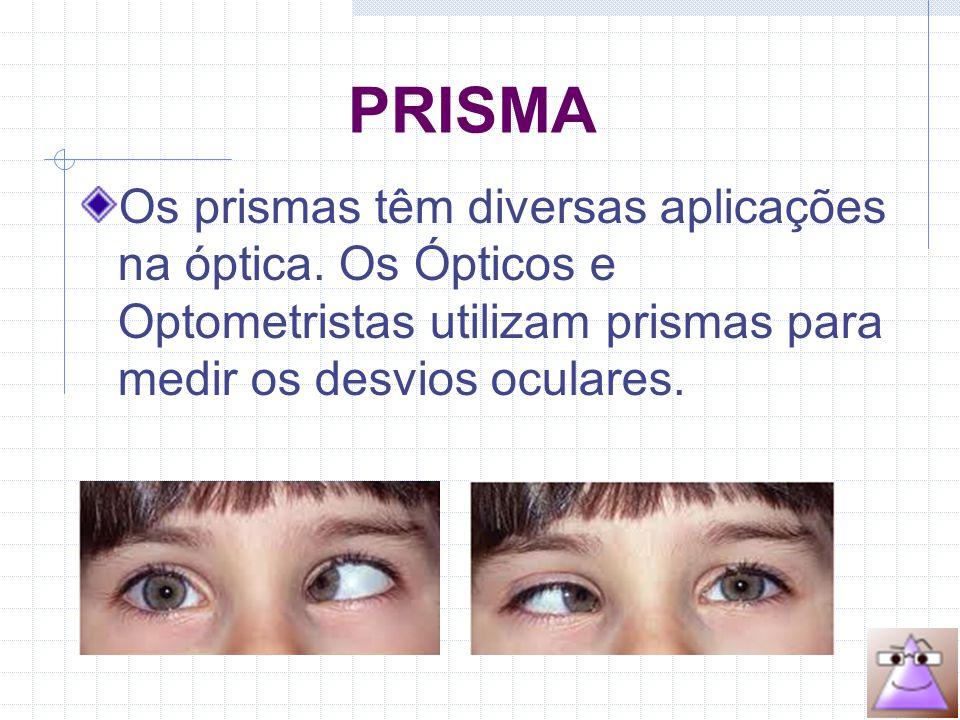 FORÇA PRISMÁTICA Chama-se de força prismática ao poder de refração que uma lente pode possuir em função apenas do ângulo LONGEESFCILEIXODNPΔ OD+ 3,5––30 mm1,5 BN OE+ 3,5––32 mm1,5 BN FÓRMULA ÓPTICA: formado por suas duas superfícies.