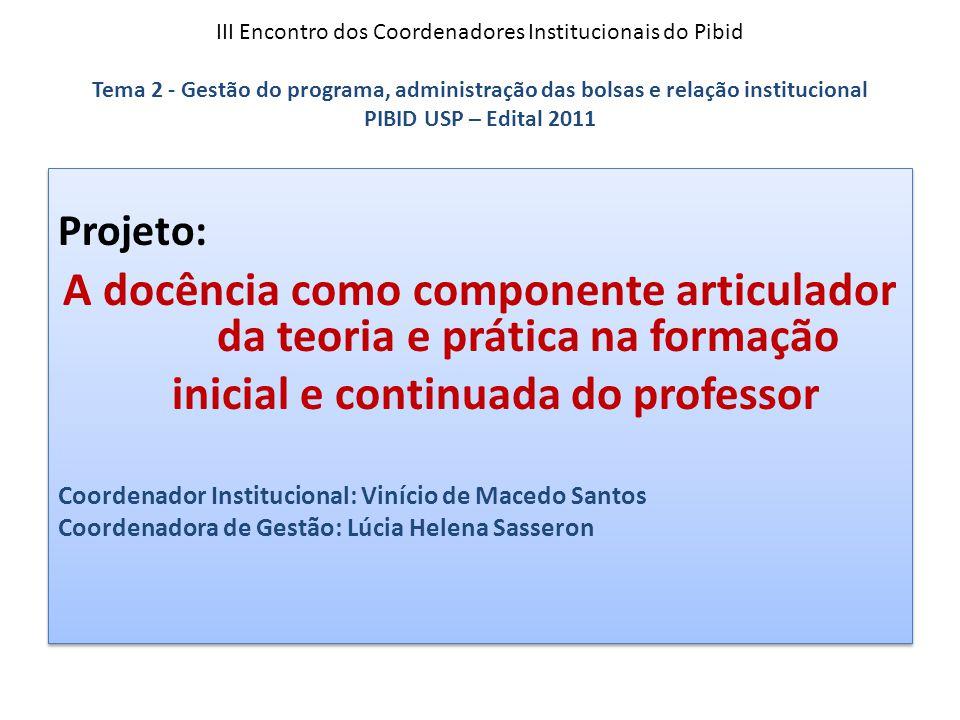 III Encontro dos Coordenadores Institucionais do Pibid Tema 2 - Gestão do programa, administração das bolsas e relação institucional PIBID USP – Edita