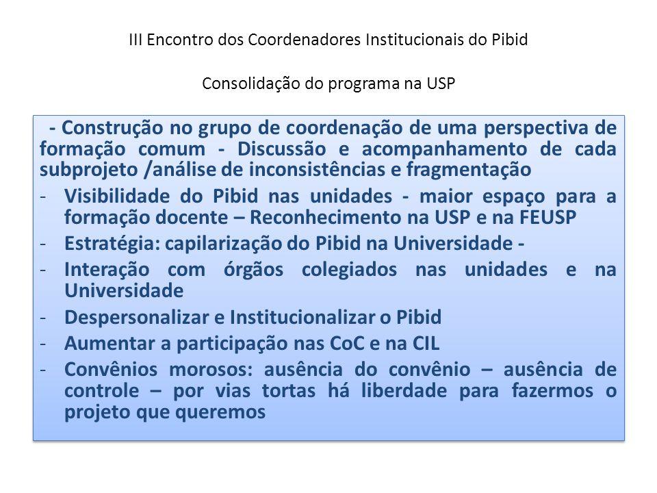 III Encontro dos Coordenadores Institucionais do Pibid Consolidação do programa na USP - Construção no grupo de coordenação de uma perspectiva de form