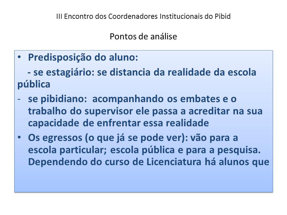 III Encontro dos Coordenadores Institucionais do Pibid Pontos de análise Predisposição do aluno: - se estagiário: se distancia da realidade da escola