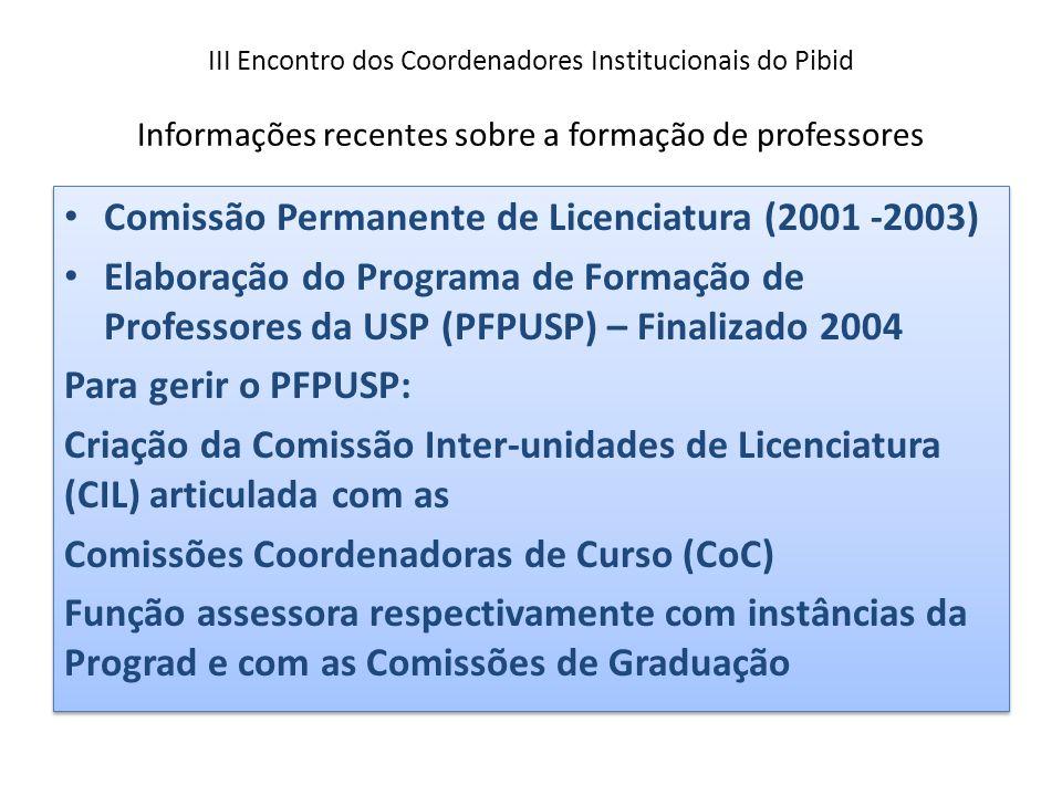 III Encontro dos Coordenadores Institucionais do Pibid Informações recentes sobre a formação de professores Comissão Permanente de Licenciatura (2001 -2003) Elaboração do Programa de Formação de Professores da USP (PFPUSP) – Finalizado 2004 Para gerir o PFPUSP: Criação da Comissão Inter-unidades de Licenciatura (CIL) articulada com as Comissões Coordenadoras de Curso (CoC) Função assessora respectivamente com instâncias da Prograd e com as Comissões de Graduação Comissão Permanente de Licenciatura (2001 -2003) Elaboração do Programa de Formação de Professores da USP (PFPUSP) – Finalizado 2004 Para gerir o PFPUSP: Criação da Comissão Inter-unidades de Licenciatura (CIL) articulada com as Comissões Coordenadoras de Curso (CoC) Função assessora respectivamente com instâncias da Prograd e com as Comissões de Graduação
