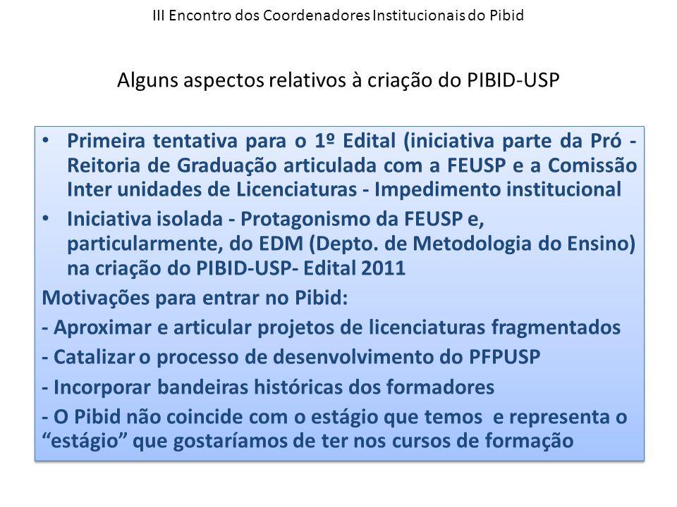 III Encontro dos Coordenadores Institucionais do Pibid Alguns aspectos relativos à criação do PIBID-USP Primeira tentativa para o 1º Edital (iniciativ