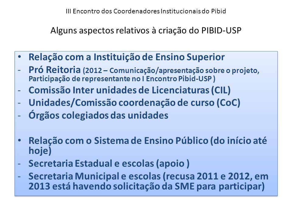 III Encontro dos Coordenadores Institucionais do Pibid Alguns aspectos relativos à criação do PIBID-USP Relação com a Instituição de Ensino Superior -