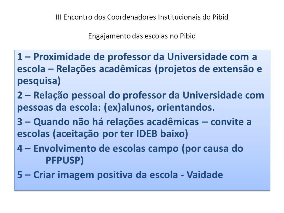 III Encontro dos Coordenadores Institucionais do Pibid Engajamento das escolas no Pibid 1 – Proximidade de professor da Universidade com a escola – Re