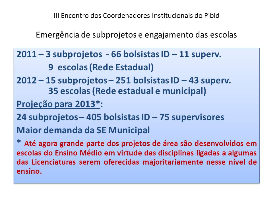 III Encontro dos Coordenadores Institucionais do Pibid Emergência de subprojetos e engajamento das escolas 2011 – 3 subprojetos - 66 bolsistas ID – 11