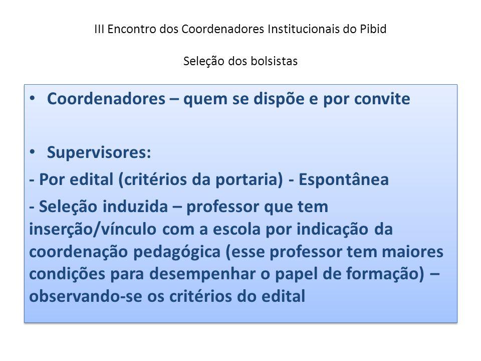 III Encontro dos Coordenadores Institucionais do Pibid Seleção dos bolsistas Coordenadores – quem se dispõe e por convite Supervisores: - Por edital (