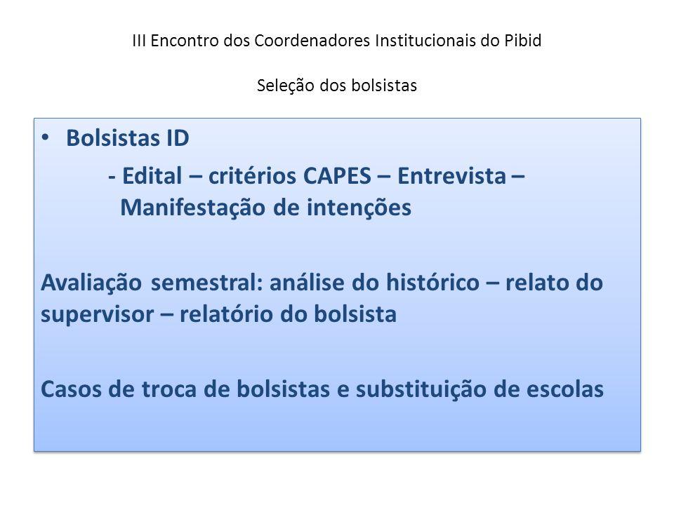 III Encontro dos Coordenadores Institucionais do Pibid Seleção dos bolsistas Bolsistas ID - Edital – critérios CAPES – Entrevista – Manifestação de in
