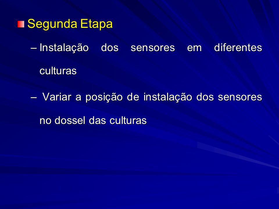 Segunda Etapa –Instalação dos sensores em diferentes culturas – Variar a posição de instalação dos sensores no dossel das culturas