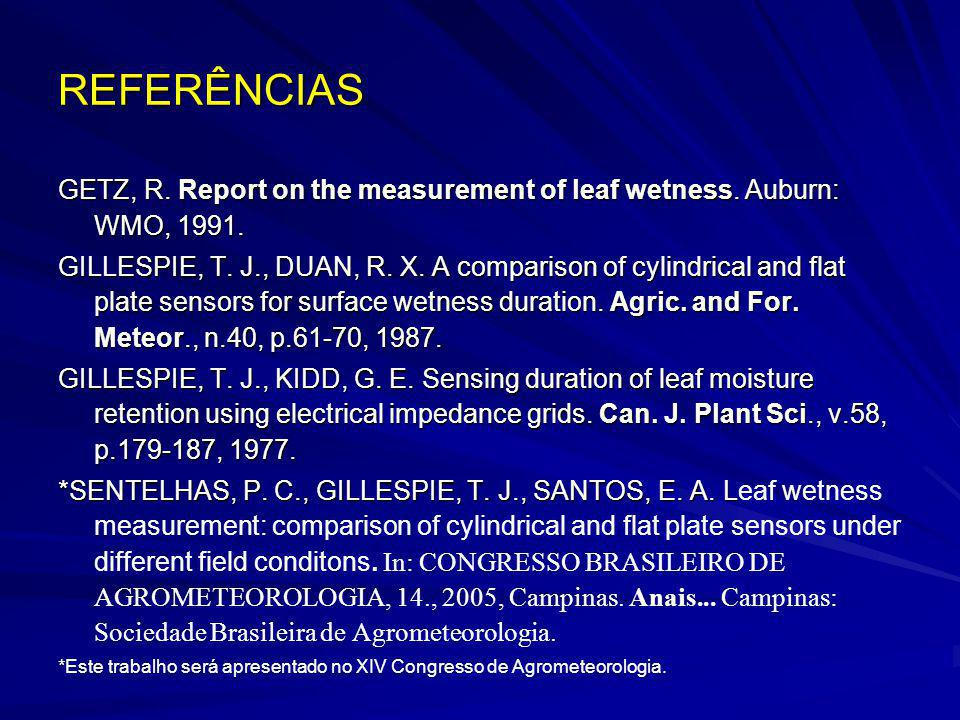 REFERÊNCIAS GETZ, R. Report on the measurement of leaf wetness. Auburn: WMO, 1991. GILLESPIE, T. J., DUAN, R. X. A comparison of cylindrical and flat