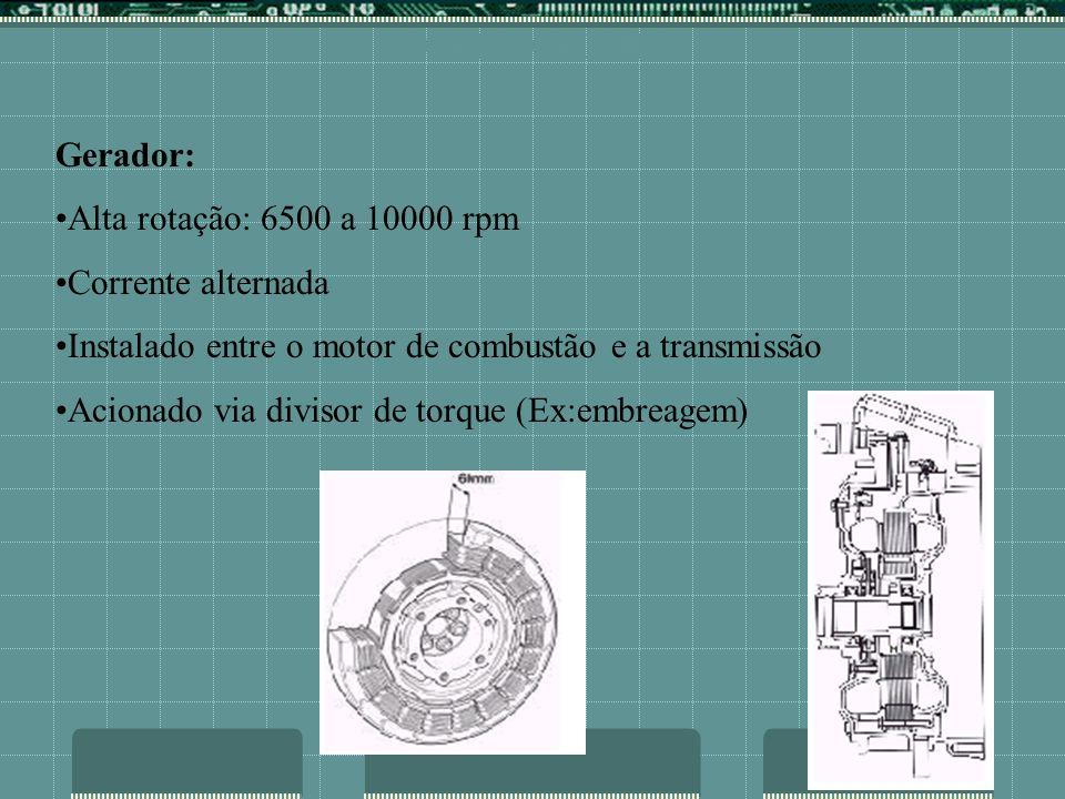 COMPONENTES Gerador: Alta rotação: 6500 a 10000 rpm Corrente alternada Instalado entre o motor de combustão e a transmissão Acionado via divisor de to