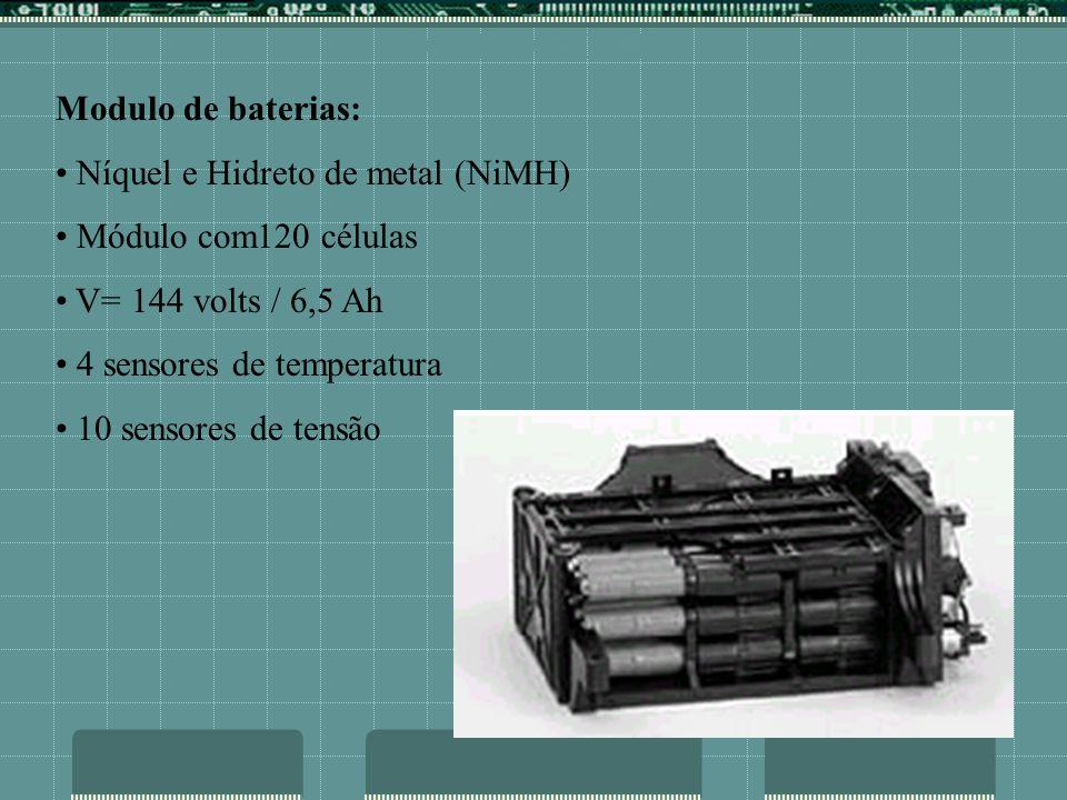 COMPONENTES Modulo de baterias: Níquel e Hidreto de metal (NiMH) Módulo com120 células V= 144 volts / 6,5 Ah 4 sensores de temperatura 10 sensores de