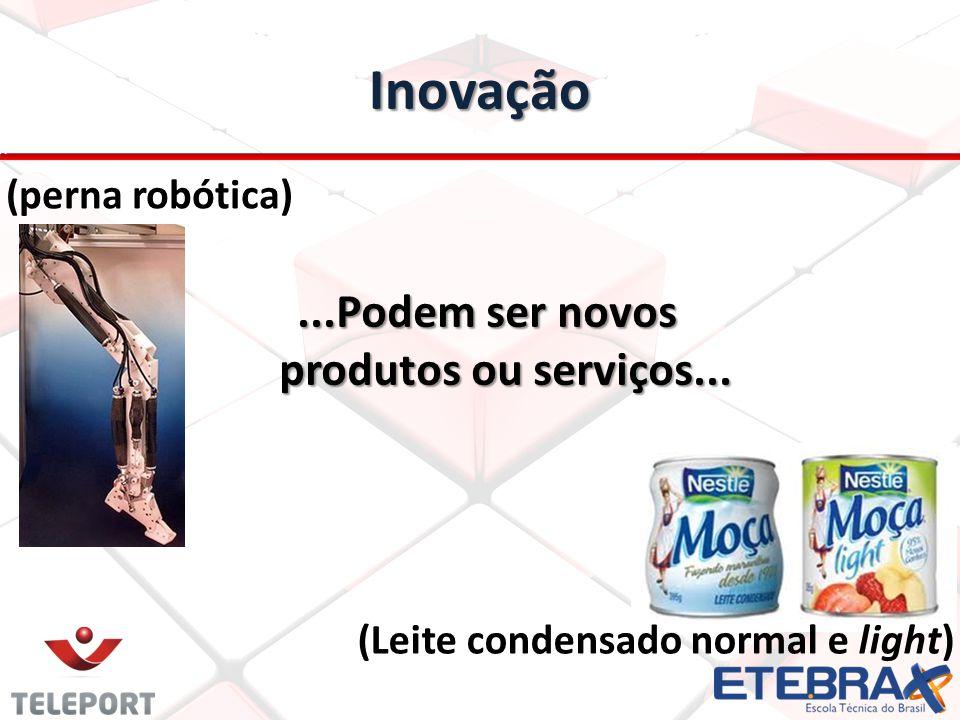 Inovação...Podem ser novos produtos ou serviços... (perna robótica) (Leite condensado normal e light)