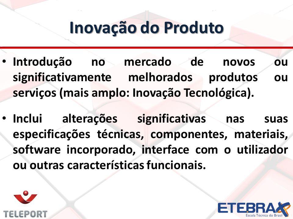 Inovação do Produto Introdução no mercado de novos ou significativamente melhorados produtos ou serviços (mais amplo: Inovação Tecnológica). Inclui al