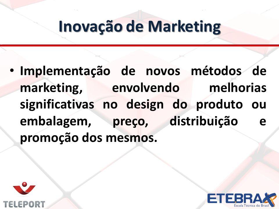 Inovação de Marketing Implementação de novos métodos de marketing, envolvendo melhorias significativas no design do produto ou embalagem, preço, distr