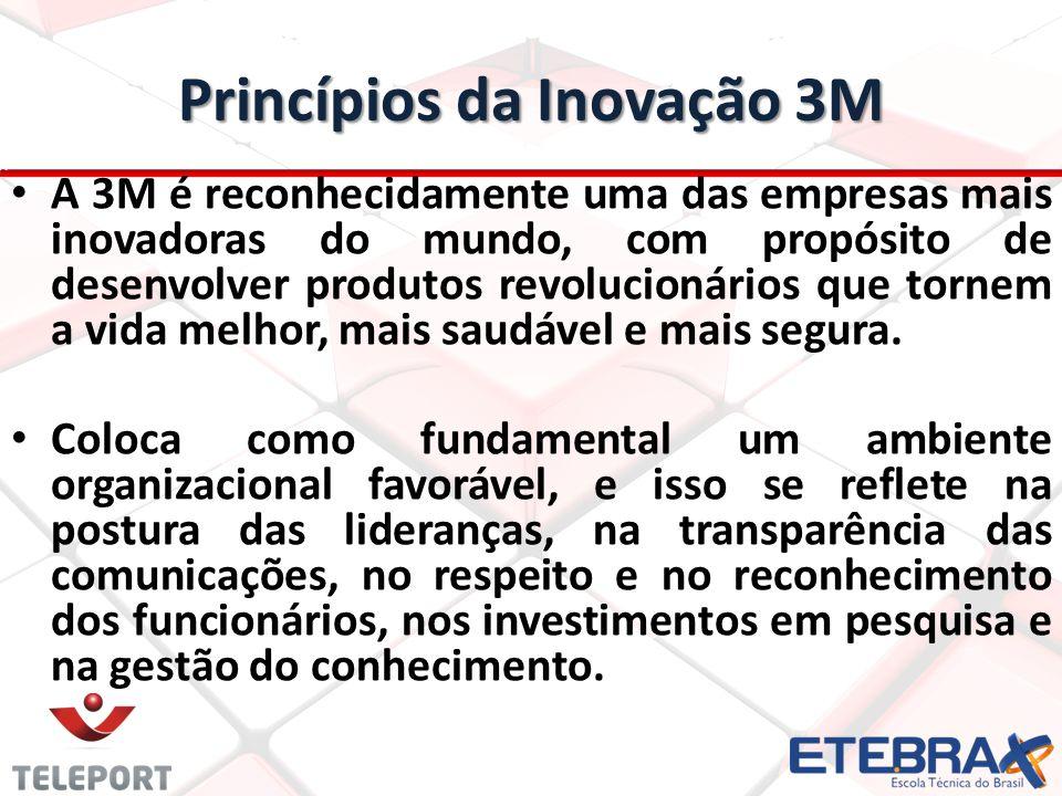 Princípios da Inovação 3M A 3M é reconhecidamente uma das empresas mais inovadoras do mundo, com propósito de desenvolver produtos revolucionários que