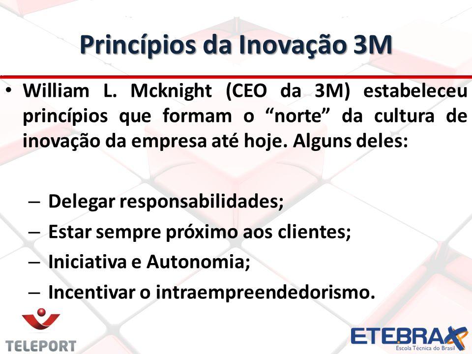 """Princípios da Inovação 3M William L. Mcknight (CEO da 3M) estabeleceu princípios que formam o """"norte"""" da cultura de inovação da empresa até hoje. Algu"""