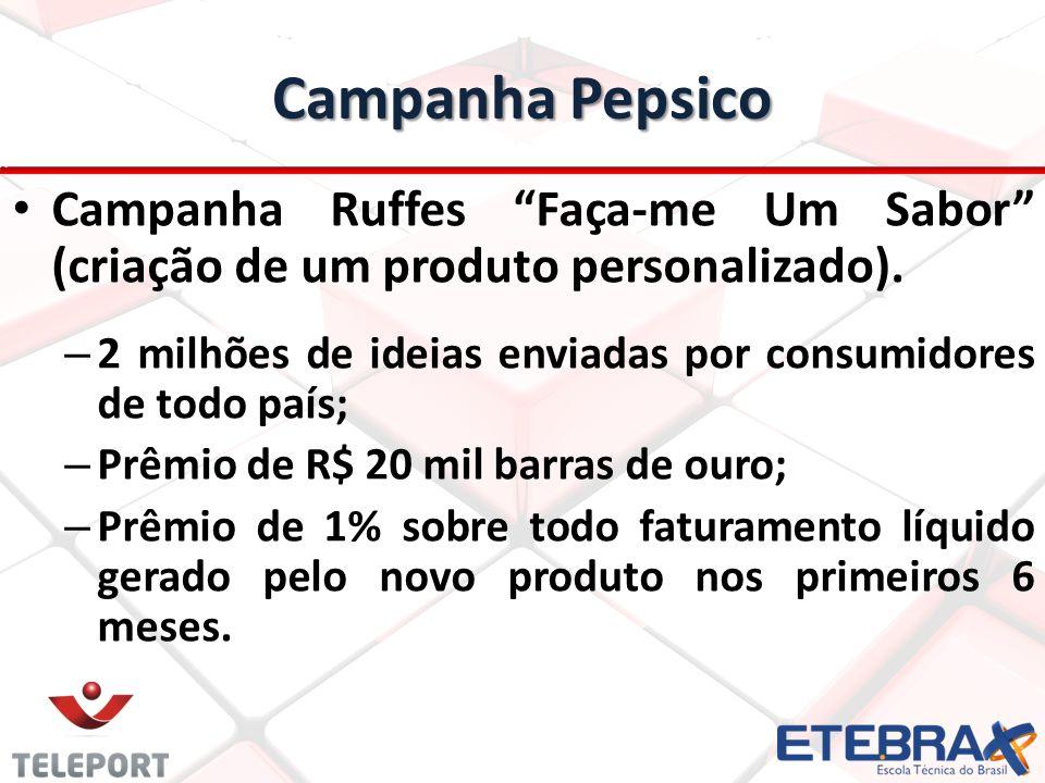 """Campanha Pepsico Campanha Ruffes """"Faça-me Um Sabor"""" (criação de um produto personalizado). – 2 milhões de ideias enviadas por consumidores de todo paí"""