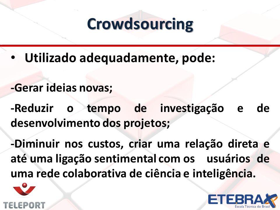 Crowdsourcing Utilizado adequadamente, pode: -Gerar ideias novas; -Reduzir o tempo de investigação e de desenvolvimento dos projetos; -Diminuir nos cu