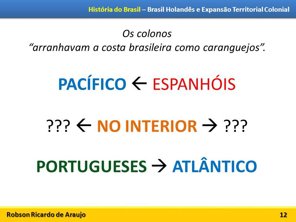 Robson Ricardo de Araujo História do Brasil – Brasil Holandês e Expansão Territorial Colonial 12 Os colonos arranhavam a costa brasileira como caranguejos .