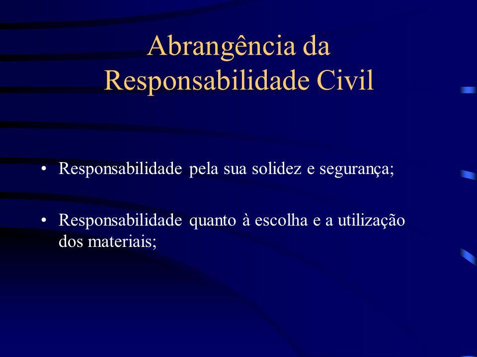 Responsabilidade Solidária A responsabilidade civil pode não ser exclusiva do profissional engenheiro, estendendo-se solidariamente ao proprietário da