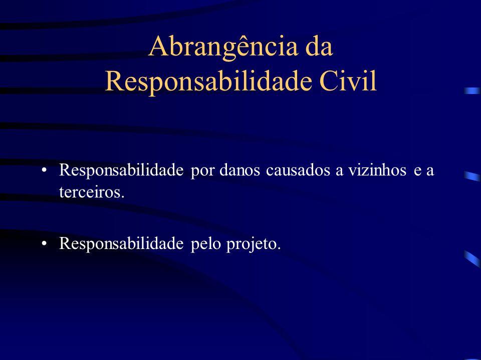 Abrangência da Responsabilidade Civil Responsabilidade pela sua solidez e segurança; Responsabilidade quanto à escolha e a utilização dos materiais;
