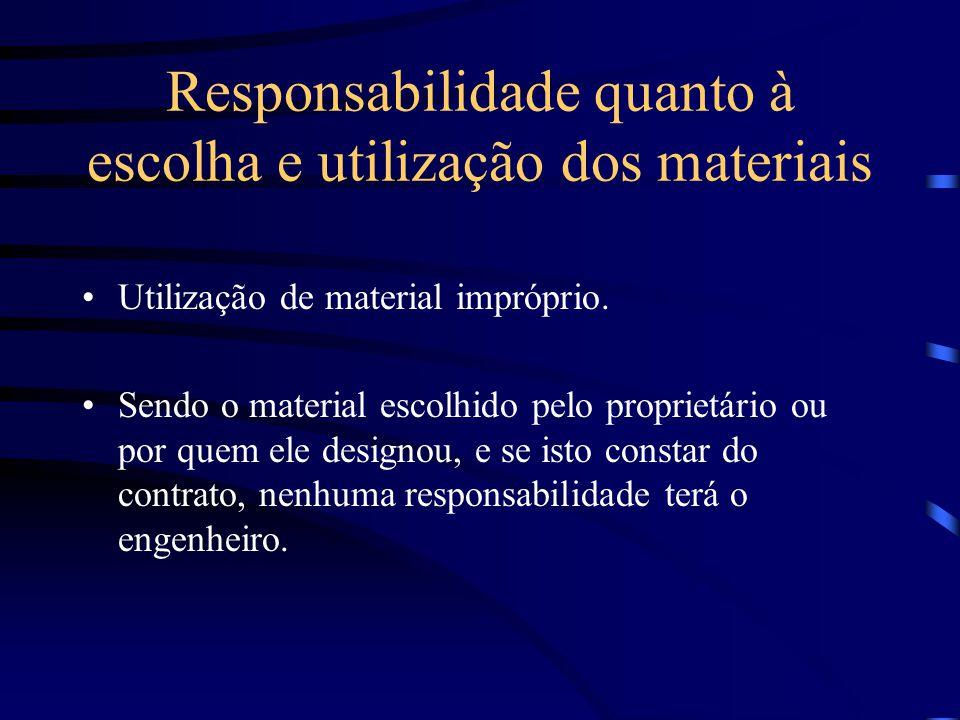 Responsabilidade pela solidez e segurança A solidez e segurança podem ser afetadas por cálculos equivocados de: –estruturas e concreto armado; –sondag
