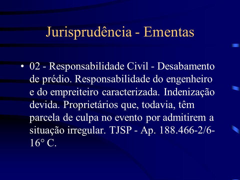 Jurisprudência - Ementas 01- Responsabilidade Civil - construção. Defeitos. Concerto providenciado pelo comprador do imóvel. Danos decorrentes de inob