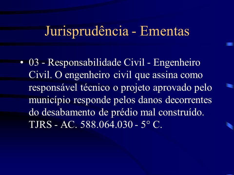 Jurisprudência - Ementas 02 - Responsabilidade Civil - Desabamento de prédio. Responsabilidade do engenheiro e do empreiteiro caracterizada. Indenizaç