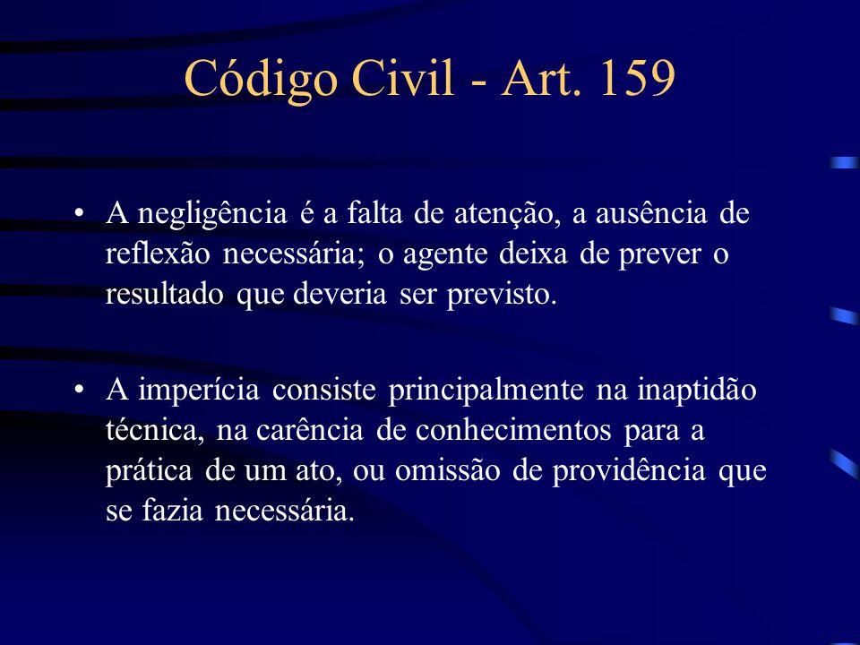 Código Civil - Art. 159 No artigo 159 do Código Civil Brasileiro, o termo negligência é amplo e abrange a idéia de imperícia, possuindo um sentido lat