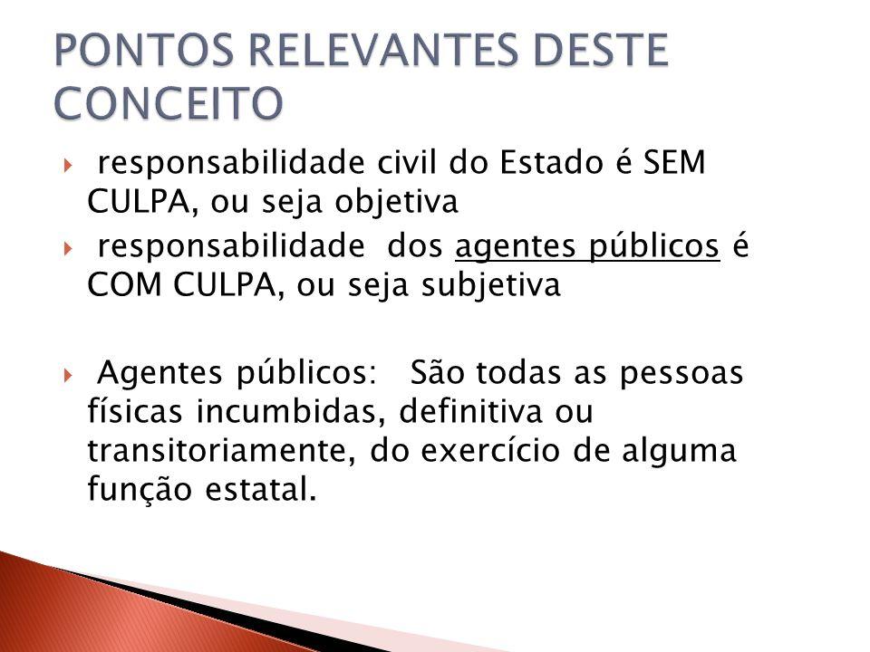  responsabilidade civil do Estado é SEM CULPA, ou seja objetiva  responsabilidade dos agentes públicos é COM CULPA, ou seja subjetiva  Agentes públ