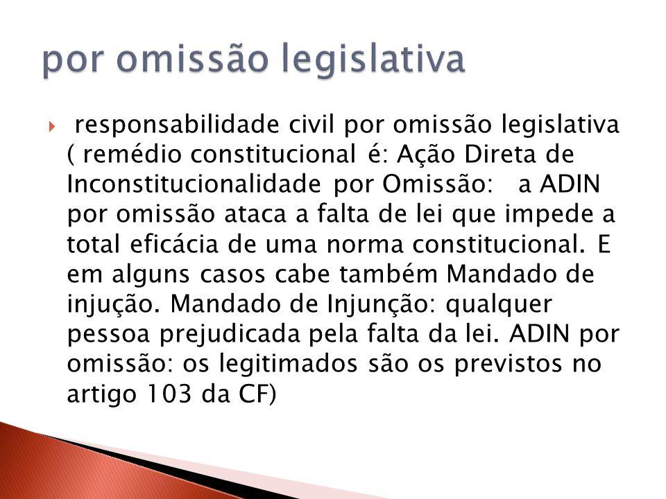  responsabilidade civil por omissão legislativa ( remédio constitucional é: Ação Direta de Inconstitucionalidade por Omissão: a ADIN por omissão atac