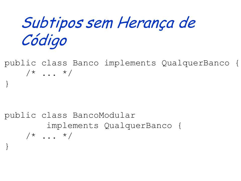 Interfaces Não pode-se criar objetos Definem tipo de forma abstrata, apenas indicando a assinatura dos métodos Os métodos são implementados pelos subt