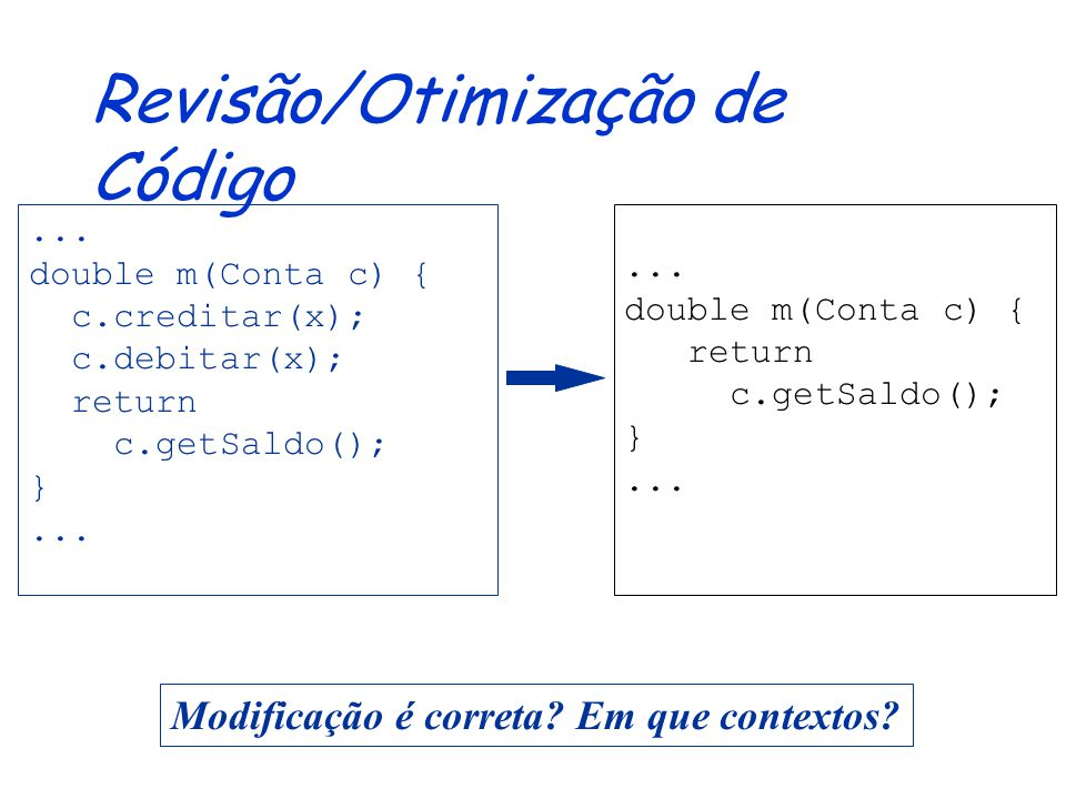 Revisão/Otimização de Código...