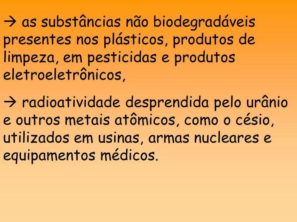  as substâncias não biodegradáveis presentes nos plásticos, produtos de limpeza, em pesticidas e produtos eletroeletrônicos,  radioatividade desprendida pelo urânio e outros metais atômicos, como o césio, utilizados em usinas, armas nucleares e equipamentos médicos.