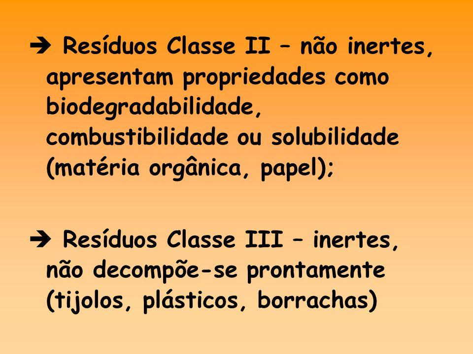  Resíduos Classe II – não inertes, apresentam propriedades como biodegradabilidade, combustibilidade ou solubilidade (matéria orgânica, papel);  Resíduos Classe III – inertes, não decompõe-se prontamente (tijolos, plásticos, borrachas)