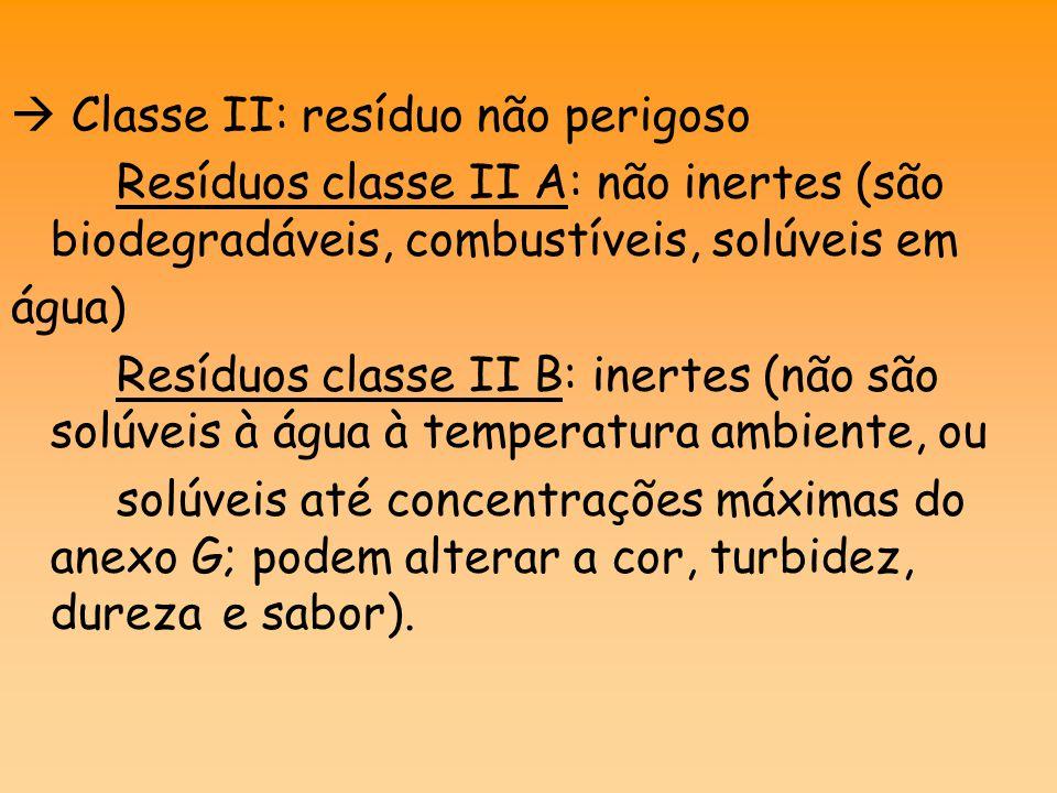  Classe II: resíduo não perigoso Resíduos classe II A: não inertes (são biodegradáveis, combustíveis, solúveis em água) Resíduos classe II B: inertes (não são solúveis à água à temperatura ambiente, ou solúveis até concentrações máximas do anexo G; podem alterar a cor, turbidez, dureza e sabor).