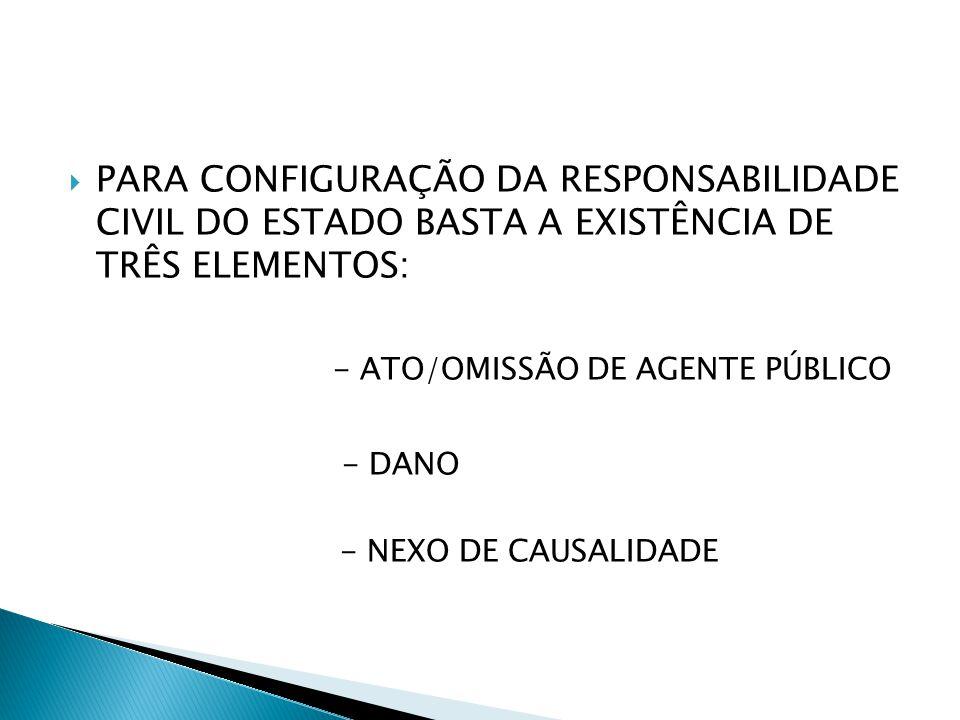  PARA CONFIGURAÇÃO DA RESPONSABILIDADE CIVIL DO ESTADO BASTA A EXISTÊNCIA DE TRÊS ELEMENTOS: - ATO/OMISSÃO DE AGENTE PÚBLICO - DANO - NEXO DE CAUSALIDADE