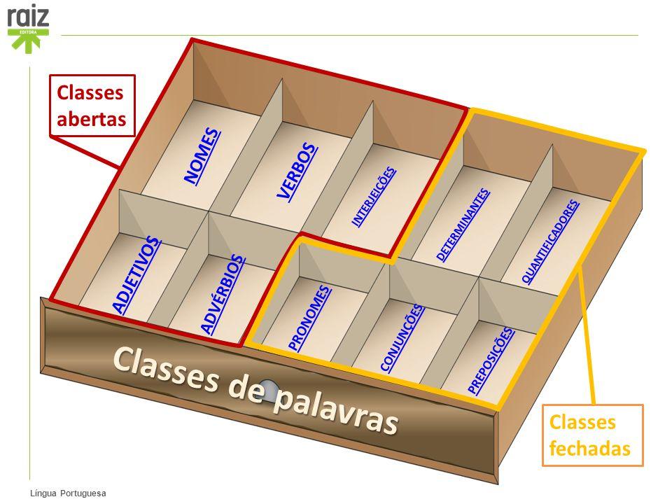 Língua Portuguesa NOMES ADJETIVOS ADVÉRBIOS QUANTIFICADORES DETERMINANTES INTERJEIÇÕES PREPOSIÇÕES CONJUNÇÕES VERBOS PRONOMES Classes abertas Classes fechadas