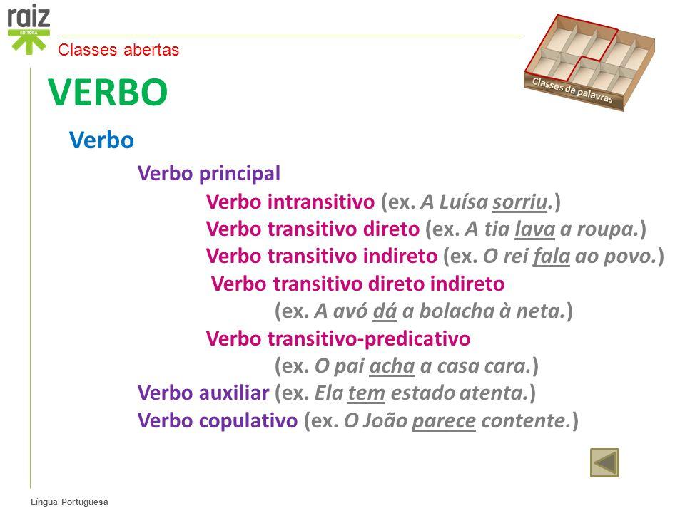 Língua Portuguesa VERBO Verbo Verbo principal Verbo intransitivo (ex.