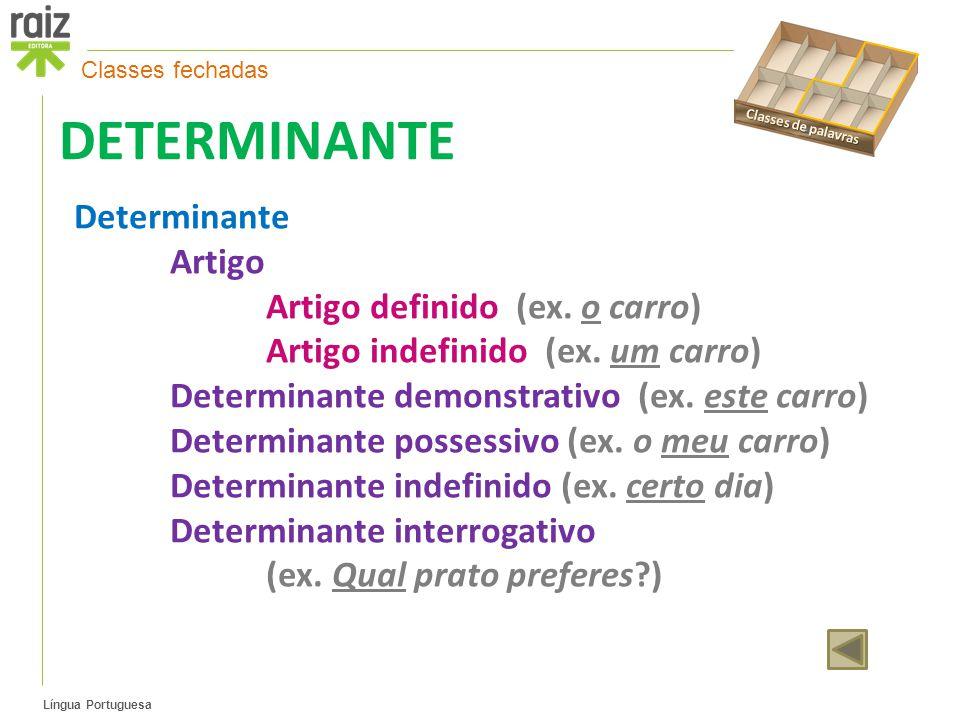 Língua Portuguesa DETERMINANTE Determinante Artigo Artigo definido (ex.