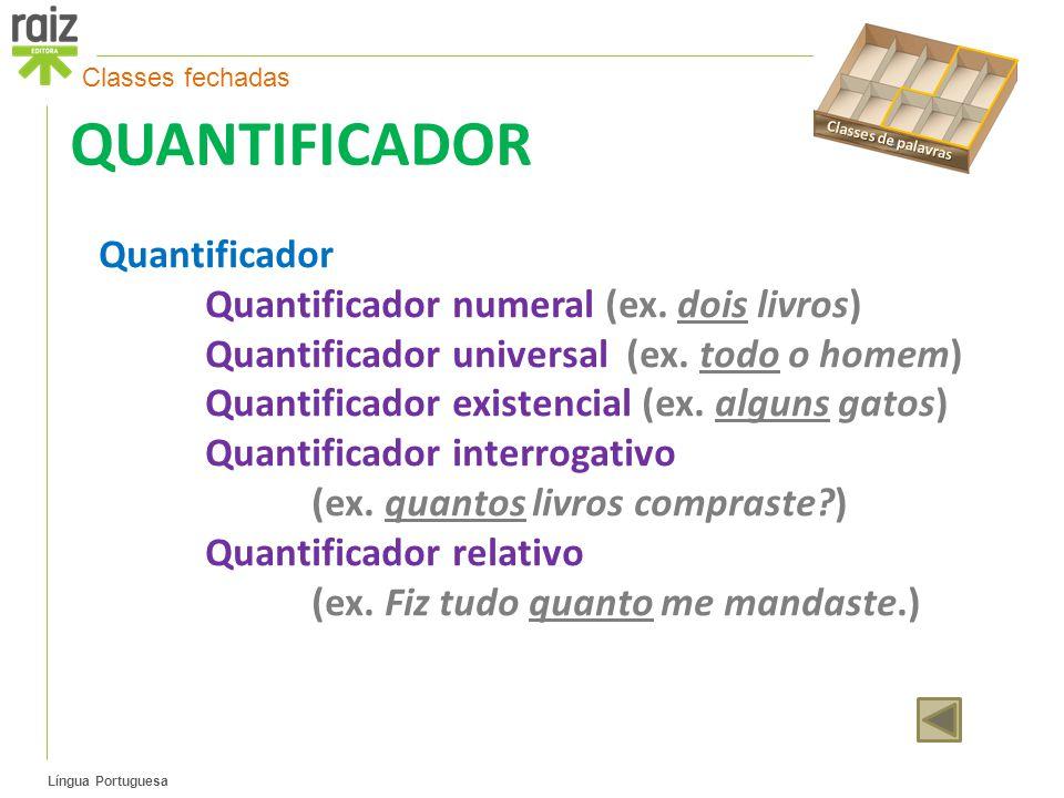 Língua Portuguesa QUANTIFICADOR Quantificador Quantificador numeral (ex.