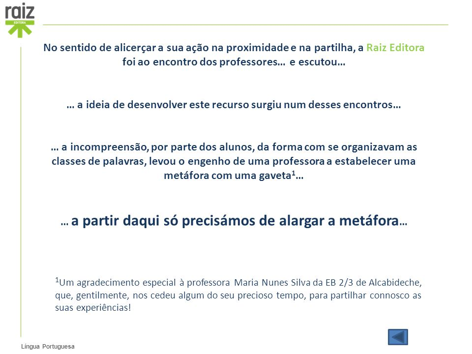 Língua Portuguesa No sentido de alicerçar a sua ação na proximidade e na partilha, a Raiz Editora foi ao encontro dos professores… e escutou… … a ideia de desenvolver este recurso surgiu num desses encontros… … a incompreensão, por parte dos alunos, da forma com se organizavam as classes de palavras, levou o engenho de uma professora a estabelecer uma metáfora com uma gaveta 1 … … a partir daqui só precisámos de alargar a metáfora … 1 Um agradecimento especial à professora Maria Nunes Silva da EB 2/3 de Alcabideche, que, gentilmente, nos cedeu algum do seu precioso tempo, para partilhar connosco as suas experiências!